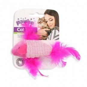 Juguetes Catnip Gatos Pawise 9 Cm Pez-ROSA