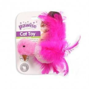 Juguetes Catnip Gatos Pawise 9 Cm Pájaro-ROSA