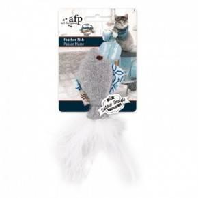 Juguete VINTAGE PET Cat Pez con Pluma 15 Cm-GRIS