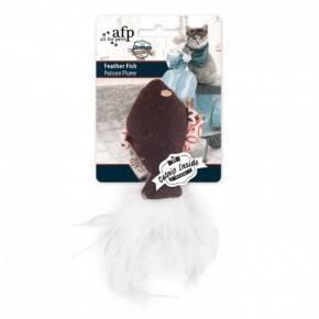 Juguete VINTAGE PET Cat Pez con Pluma 15 Cm-MARRON